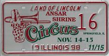 IL SPEC. EVENT LICENSE PLATE 1998 Springfield Ansar Shrine Circus