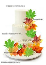 19 AUTUMN LEAVES MIXED SIZES Cake Toppers Edible Paper Decorations Cupcake
