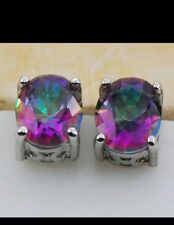 925 Sterling Silver Rose Rainbow Crystal Zircon Stud Earrings