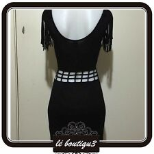 T BY BETTINA LIANO Bodycon Black Dress With Cutout Size 8 (C 36)