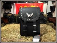 Sacoche en cuir pour sissi bar Modéle Aigle & clous ( moto custom trike harley