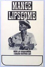 Blues Legend MANCE LIPSCOMB Concert Poster, Mid 1960's