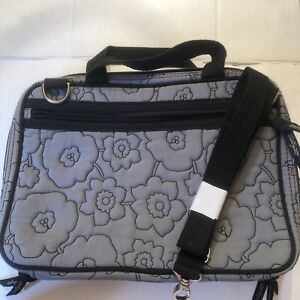 Thirty One Traveler Cosmetic Make Up Bag Gray Quilted Poppy Floral Toiletries To