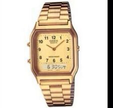 AQ-230GA-9B Casio Watch Dual Time Gold Analog Digital Steel Band. TOVI