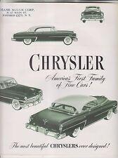 1953 SALES BROCHURE - CHRYSLER - WINDSOR NEW YORKER CROWN IMPERIAL