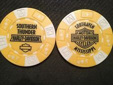 "Harley Davidson Poker Chip (Yellow & White) ""Southern Thunder H-D"" Southaven MS"