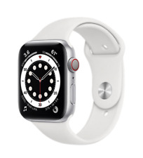 Apple Watch Series 6 (GPS + Cellular) 44mm Silver Aluminum Case with White Sport