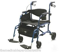 MEDLINE Excel Translator 2 IN 1 Transport Chair Wheelchair / Rollator Combo BLUE