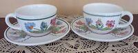 HEREND Village Pottery Handpainted Presen Tense Tea Cup/Saucer Set for 2