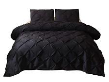 Duvet Cover Set Pintuck Quilt Cover Hypoallergenic Microfiber Bedding Set