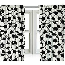 "FOOTBALL READYMADE CURTAINS BLACK WHITE KIDS BEDROOM 72"" DROP"