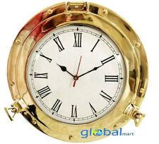"15"" Shiny Brass Marine Brass Ship Porthole Clock Analog Nautical Wall Clock"
