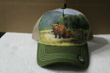 BEAR FOREST MOUNTAIN OUTDOOR SNAPBACK BASEBALL CAP HAT MESH BACK ( GREEN BILL )