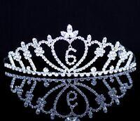 Nine-Year-Old Rhinestone Tiara Crown W// Hair Combs Girl 9th Birthday Party T823