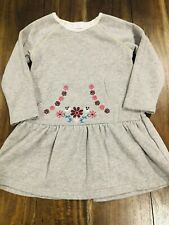 hanna andersson 110 dress Sparkly Grey Color Embroidered Flowers