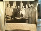 PRESIDENT TRUMAN SIGNS ACT FOR OFFICERS OF ARMY, NAVY, MARINES WIRE PHOTO - 1947