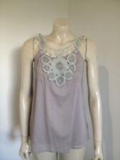 Folded & Hung Grey Sleeveless 100% Cotton Lace BoHo Blouse Size M