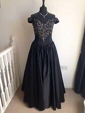 Nuevo La Princesse Negro Vintage sin hombros baile Vestido noche/Baile de graduación Vestido UK10