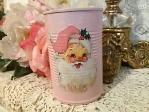 Pink Christmas Santa, Shabby Chic, Up cycled Tin Can, Retro, Kitschy Xmas