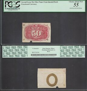 50 Cent Fractional Second Issue Inverted Overprint Error PCGS Ch. About New 55