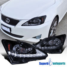 For 06-09 Lexus IS250 IS350 LED Strip Smoke Projector Headlights Glossy Black