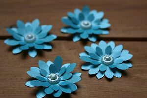 15 TEAL SHIMMER 3D FLOWERS WEDDING STATIONERY, TABLE CONFETTI, TOPPERS,