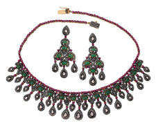 Silver Emerald Ruby Polki Necklace Set Antique Rose Cut Diamond 12.30ct Sterling
