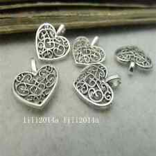 100pc Tibetan Silver Hollow out Peach heart Charms Beads Pendant Jewellery G035