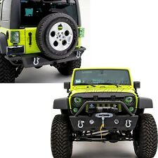 "Rock Crawler Stubby Front+Rear Bumper+2"" Hitch Receiver for 07-18 Jeep Wrangler"