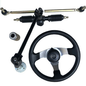 For 110cc Go Kart Quad 30cm Steering Wheel Assembly Steel 32cm Gear Rack Pinion