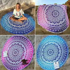 Bohemian Mandala Beach Throw Blanket Towel Tapestry Hippie Yoga Round Mat Rug