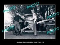 OLD LARGE HISTORIC PHOTO OF MICHIGAN STATE POLICE FORD PATROL CAR c1950