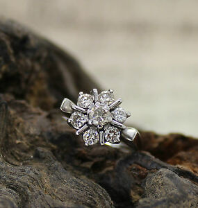 18CT WHITE GOLD DIAMOND CLUSTER RING, SIZE M, ENGAGEMENT, STAR, DECO STYLE, 18K