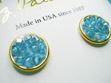 NEW 14K GP Liz Palacios AB Blue Zircon Rock Crystal Swarovski element earrings