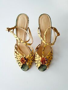 Charlotte Olympia Gold Pineapple High heel Shoes Sandals Size EU 37,5 Made in It
