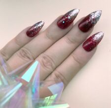 Hand Painted False Nails Stiletto Or ANY Red Glitter Silver Party Birthday Gift