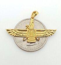 18k yellow gold Ahura Mazda Farvahar Zoroastrian Achaemenian pendant 35mm