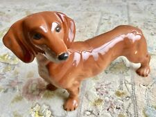 """Beautiful 9""""/23cm Long Dachshund Glazed Porcelain Dog In Perfect Condition"""