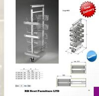 400mm Pull out larder with chrome plate and chrome baskets soft / self close