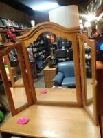 Gorgeous Large Tri-Fold Oak Heavy Wood Vanity Mirror