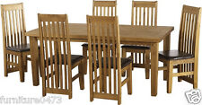 Solid Pine Dining Table & 6 Brown Pad Chairs W182cm x D91cm x H77.5cm TORT