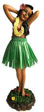 """Hawaiian Dashboard Hula Girl 7"""" Doll Dance Pose Hawaii Hawaiiana Green Skirt NIB"""