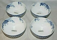 Mikasa Kiley Blue Floral Bone China Soup Cereal Bowls Set of Four New
