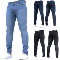 Men Jeans Skinny Stretch Washed Denim Pants Slim Fit Straight Leg  Long Trousers
