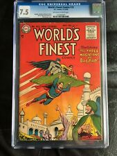 WORLD'S FINEST COMICS #79 CGC VF- 7.5; OW-W; Green Arrow! rare!