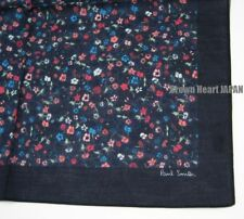 New Paul Smith 'Music Floral' Print Handkerchief Cotton Japan-Made DarkNavy 45cm