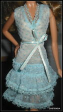 DRESS BARBIE MATTEL CYNTHIA ROWLEY MODEL MUSE DOLL BLUE SILVER DOTS LACE OVERLAY