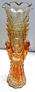 CARNIVAL GLASS JAIN INDIAN GODDESS VASE VINTAGE RARE COLLECTIBLES ART DECO STYLE