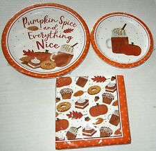 FALL/THANKSGIVING Paper Plates & Napkins  PUMPKIN SPICY