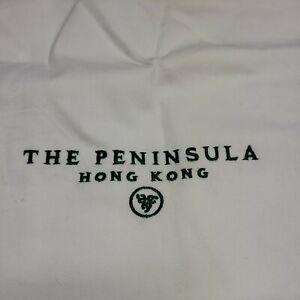"NEW The Peninsula Hong Kong Drawstring Laundry Bag White 26""x20"" Green Letters"